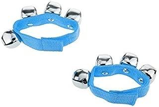 TYKusm - 2 cascabeles de muñeca/tobillo para instrumentos de ritmo, juguetes para bebés y niños (azul)