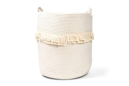 Delicate Large 100% Cotton Rope Basket 16x18 Baby Laundry Basket Tall Woven Basket Nursery Bin Storage Basket Round Gift with Handles for Toys, Laundry, Baby Nursery Anchor (3 Colors) (White)