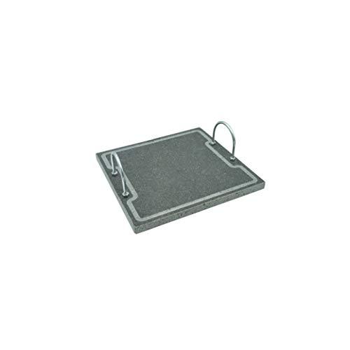 Etna Stone & Design Lava Grill Plus - Parrilla con asas, piedra volcánica Etnea, placa lijada para horno y barbacoa, cocción de carne, pescado, verduras y pizza