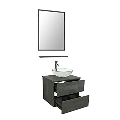 LUCKWIND Bathroom Vanity Vessel Sink Combo – Wall Mount Mirror Artistic Glass Vessel Sink Faucet Drain ORB Single Cabinet Shelf Storage Shelf Suite 2 Drawers Top MDF-Eco Wooden Modern Grey Rectangular