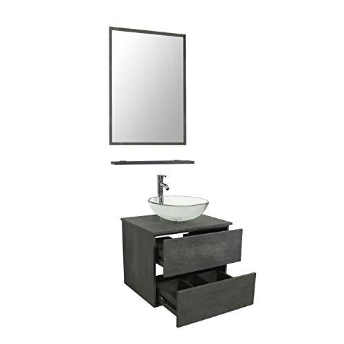LUCKWIND Bathroom Vanity Vessel Sink Combo – Wall Mount Mirror Artistic Glass Vessel Sink Faucet Drain ORB Single Cabinet Shelf Storage Shelf Suite 2 Drawers Top MDF-Eco Wooden Modern Grey Rectangular