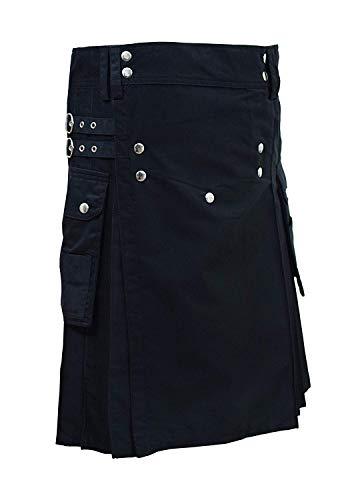 SHYNE KILTS U.K Kilt Deluxe Kilt - Kilt para hombre, color negro (Ropa)