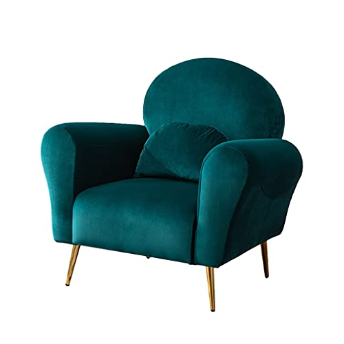 Liu Yu·casa creativa Top Space Acento Silla Sala de Estar Silla Sillones Sofá Individual Tapizado Gris Cómodo Tejido Muebles Modernos de Mediados de Siglo para Dormitorio Oficina (Verde)