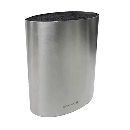 Coninx Saporo Blocco Coltelli Acciaio Inox - Ceppo Portacoltelli - 6.4 x 22 x 16.5cm - Ustenile di Cucina - 2 anni di garanzia
