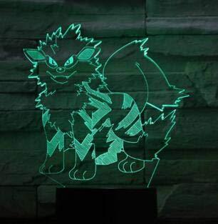 Mimikyu Jigglypuff Snorlax Arcanine Prinplup Lugia Juego Rollo Personaje de dibujos animados Animal 3D Luz nocturna Cool 7 colores Lámpara de mesa Regalo de Navidad para niños