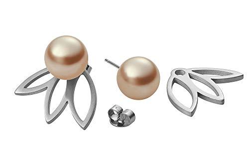 Heideman Ohrringe Damen Flora 3 aus Edelstahl silber farbend matt Ohrstecker für Frauen 2 in 1 Doppelstecker mit Swarovski Perle platin farbend rund 10mm