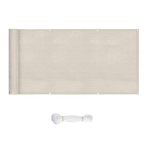 SONGMICS GBC90IV - Pantalla de Privacidad (6 x 0.9 m, escudo de privacidad, pantalla HDPE sin tornillos, cubierta permeable, sujetacables adjundas, para balcón, jardín, piscina) Blanco Beige