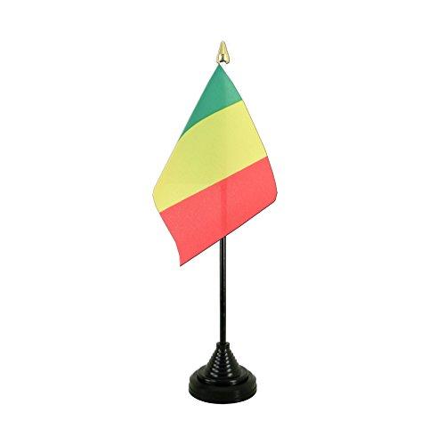 AZ FLAG TISCHFLAGGE Guinea 15x10cm goldene splitze - GUINEISCHE TISCHFAHNE 10 x 15 cm - flaggen