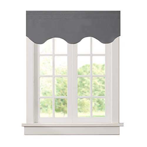 Aquazolax Window Scalloped Valances for Bedroom Thermal Insulated Solid Blackout Curtains Scalloped Valances for Kitchen, 52 x 18 inches, Grey, 1 Panel