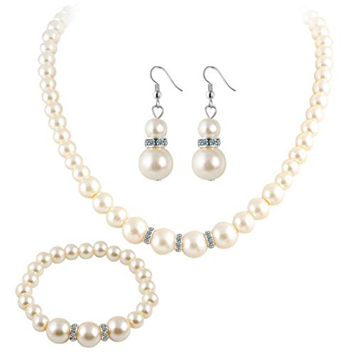 MSYOU Set mit 3 eleganten Damen-Ohrringen, Halskette, Armband, große Imitationsperlen mit Anhänger, Armband, Schmuck-Sets für Partys