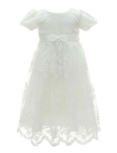 Happy Cherry Kleid für Babys, Mädchen, langes Prinzessinnen-Kleid, für formelle Anlässe, für Hochzeiten, Geburtstage, Partys, 3–24 Monate Gr. 12-15 Monate, weiß