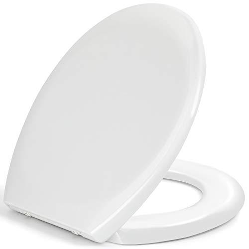 Toilettendeckel, WC Sitz mit Absenkautomatik, schnellverschluss für leichte Reinigung, einfache Montage Antibakteriell Klodeckel aus Duroplast, O Form Weiß Toilettensitz mit Edelstahl Befestigung
