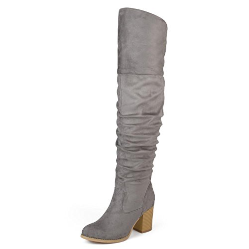 Journee Collection Womens Regular Wide Calf and Extra Wide Calf Over-The-Knee Ruched Stacked Heel Boots Grey, 5.5 Regular Calf US