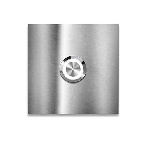 Metzler Moderne Edelstahl Türklingel - Quadratische LED-Türklingel - Edelstahl Türklingel mit Gravur - Größe & LED Drucktaster wählbar