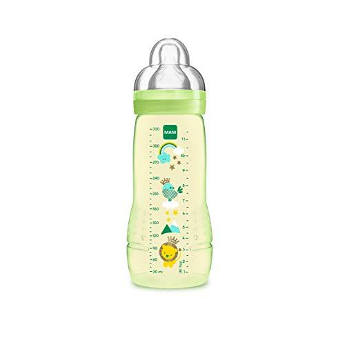 MAM Biberón Easy Active Baby Bottle A128 - Biberón con Tetina de Silicona SkinSoftTM ultra suave, 330ml, para Bebés a partir de 4 meses, Neutro, 1 unidad, Sistema auto esterilización en 3 minutos