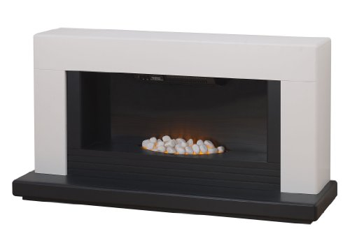 Adam Carrera White and Black Electric Fireplace Suite, 2000 Watt