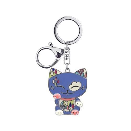 MANI THE LUCKY CAT Porte clé Chat Porte Bonheur Charms Bleu Collier Rose
