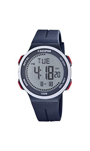 CALYPSO Reloj Modelo K5803/3 de la colección Color Splash, Caja de 44 mm Digital con Correa de plástico Azul Oscuro para Caballero