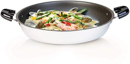 Pan Skillet, acier céramique Binaural grande casserole, ustensiles de cuisine résistant à la chaleur, wok Poêle à revêtement antiadhésif cuisinière universel, moins Fumées Frire 42cm,blanc,42cm