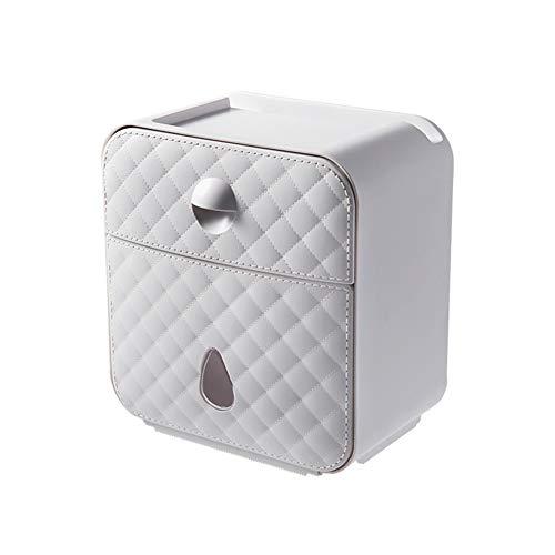 WXXSL Moderno Portarotolo Carta igienica, ABS Impermeabile Montaggio a Parete Portarotolo Acciaio Nessuna Perforazione Deposito Tessuto Bagno 19,7×12,5×20,8cm,Grigio