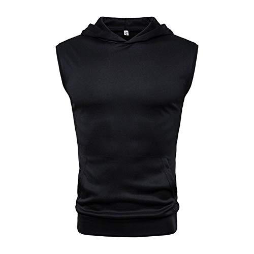 For hombre muscular con capucha sin mangas de las tapas del tanque de musculación Gimnasio entrenamiento de la aptitud del chaleco Camisas Tops Ropa de Hombre Military (Color : Black, Size : L)