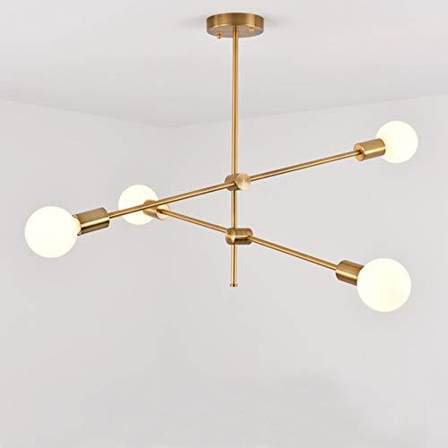 Djy-jy Chandeliers modernos de oro colgante colgante iluminación accesorio esputnik araña nórdica posmoderna lámpara colgante moderno decoración lustre (Lampshade Color : Golden 4 lights)