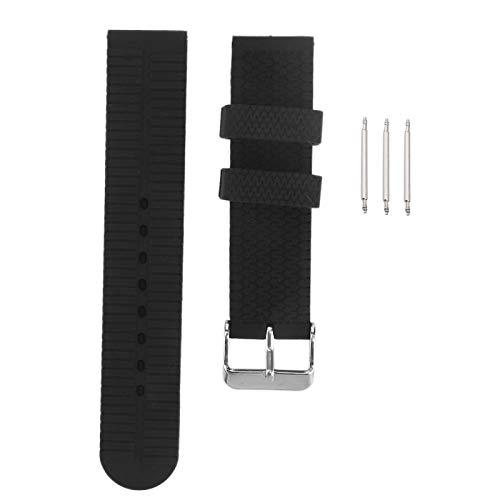 Correa de reloj de repuesto 20 mm, hebilla de pasador de silicona, accesorio de correa de reloj de grano de neumático deportivo, pieza de repuesto de reloj de pulsera ajustable(negro)