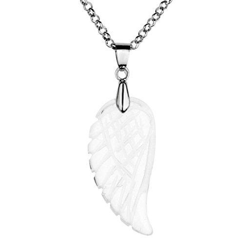 Jovivi Natural Clear Quartz Crystal Gemstone Necklace Reiki Chakra Stone Angel Wings Healing Point Pendant