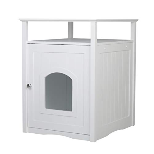 Merry Pet Cat Washroom Litter Box Cover/Night Stand Pet House, Glossy White