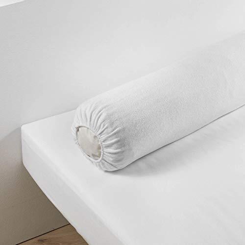 douceur d'intérieur 1640935 Protège Traversin Molleton Uni Coton Blanc 145 x 45 x 145 cm