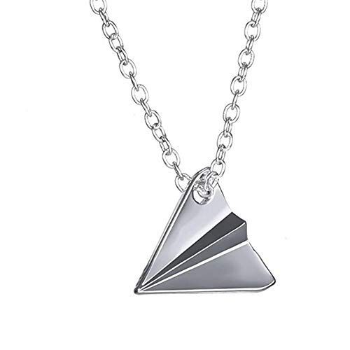 Cute Little Paper Aeroplane Charm Necklace Fashion One Direction Harry Styles Paper Aeroplane Necklace Alloy Pendant Necklace with 18 Inch Cable Chain Jewellery for Women Men (Silver)