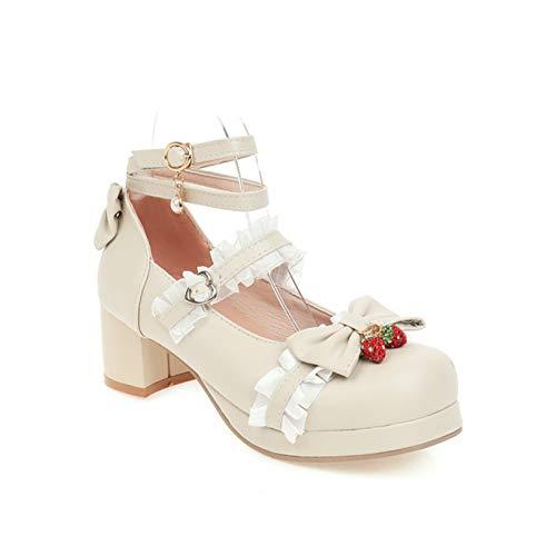 Zapatos de mujer lindos de encaje Mary Jane Lolita Cosplay de bloque...