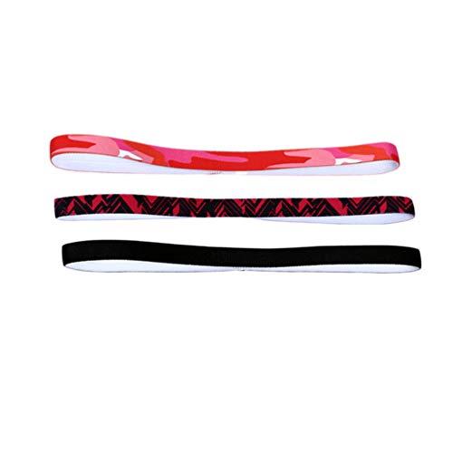 HEALLILY 3 Pcs Mini Bandeaux Élastiques Filles Sport Bandeaux Antidérapant Grip Bandeau Athlétique Bandeaux Doublés de Silicone pour Courir Football Yoga Noir Rouge