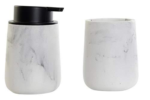 Space Home - Accesorio de Baño - Dosificador de Jabón + Porta Cepillo - Blanco y Gris - Diseño Mármol