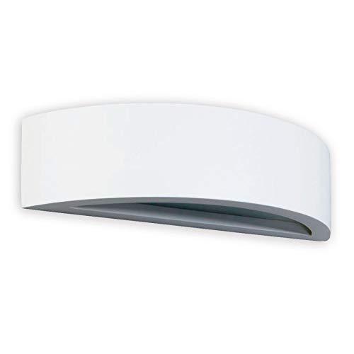 Lindby Gips Wandlampe weiß, bemalbar  indirektes Licht Uplight & Downlight   Wandleuchte Gips 1 flammig für Wohnzimmer, Esszimmer, Küche, Flur   Gipsleuchte Wand innen   IP20