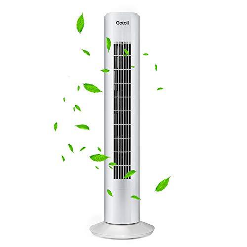 Gotoll Turmventilator 50 Watt, Tower-Ventilator 73 cm, 75° Oszillationswinkel Säulenventilator, Standventilator mit 3 Laufgeschwindigkeiten, Ventilator in Weiss