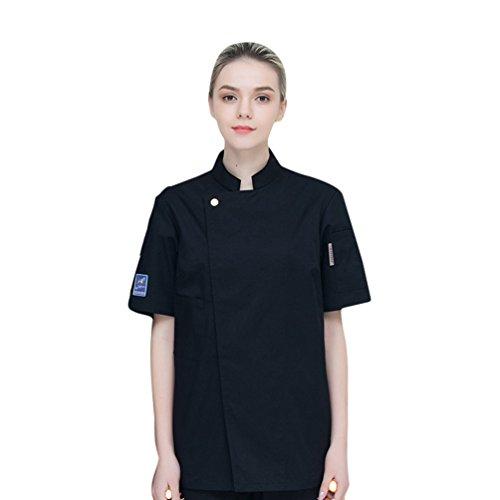 Dooxi Unisex Herren und Damen Sommer Kurzarm Kochjacke Mode Restaurant Küche Hotel Uniform Berufsbekleidung Schwarz M