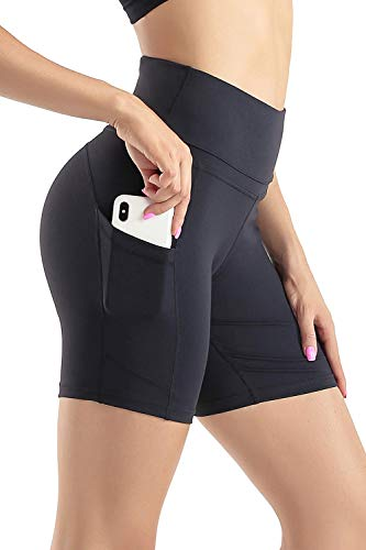 Wirezoll Sport Damen Leggings, Lange Blickdicht Yoga Hose Sporthose Fitnesshose mit Taschen, Schwarz Kurz, L