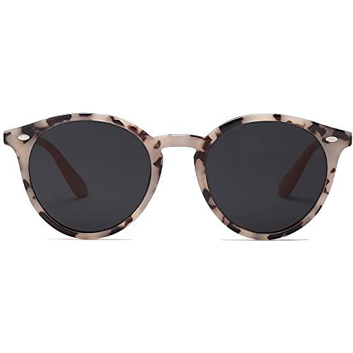 SOJOS Retro Sonnenbrille Damen Runde Polarisierte Sonnenbrille UV Protect SJ2069 ALL ME mit Brauner Schildkröten Rahmen / Graue Linse mit Nieten