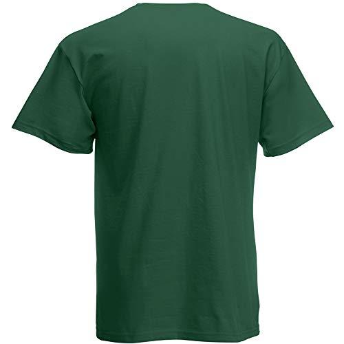 Fruit of the Loom - Camiseta Básica de Manga Corta de Calidad diseño Original Hombre Caballero (Grande (L)) (Verde Botella)