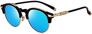 Sunglasses Fashion Accessories Fashion Polarized Sunglasses Driving Round-Framed Glasses UV Shopping Tour (Color : Blue)