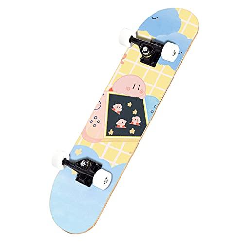 qiaoliang 32'x 8' Skateboards 7 Capas De Arce Canadiense, 100a PU Ruedas Estándar Skate Tablero Doble Patada Decks Board para Principiantes Niños Niñas Adultos