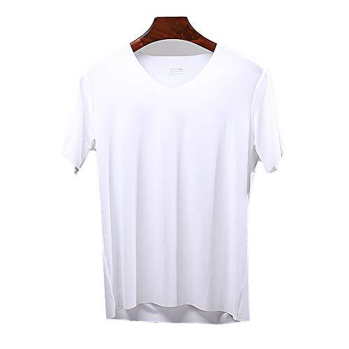 Camiseta de algodón de Manga Corta de Tencel con Cuello en V Delgado para Hombre Corte de Moda Camiseta de Verano compasiva para Hombre