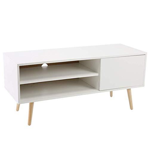Greensen Mueble de TV, Pies de Madera Estilo Minimalista de Metal con Estanterías y Orificios para Cables Estantería para Sala de Estar (2 estantes 1 Puerta) - 100x40x50cm