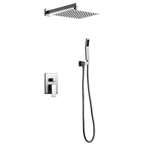 Homary Luxury Wall Mounted Brushed Nickel 10' Shower Set Rainfall High Pressure Shower Head Handheld Spray Square Shower Combo Set with Pressure Balance Rough-in Valve and Trims, Solid Brass