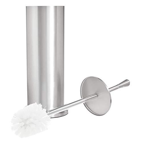 Amazon Basics - Badezimmer-Zubehör-Kollektion aus gebürstetem Edelstahl - Toilettenbürsten-Halter