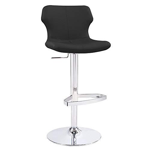 Zuri Furniture Modern Adjustable Leatherette Ellery Bar Stool with Chrome Base- Red