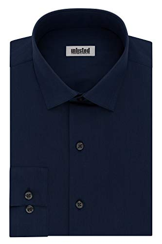 Kenneth Cole Unlisted Men's Dress Shirt Slim Fit Solid ,  Medium Blue,  14'-14.5'Neck 32'-33'Sleeve
