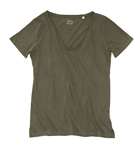 J.Crew Women's Raw Edge Supima V-Neck Tee (Small, Dark Olive Green)
