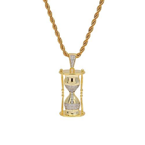 Qiulv Clessidra Hip-Hop Pendente 18 carati Oro Placcato Collana Iced su Bling Splendere Popolare Collana Zircone Intarsio Catena Unico Fascino Gioielleria Regalo